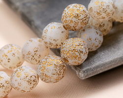 Czech Glass Matte Textured White Opal w/ Gold Flecks Fire Polished Round 14mm