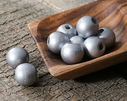 Metallic Silver Wood Round 14mm