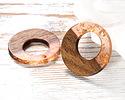 Walnut Wood & Blossom w/ Gold Foil Resin Off-Center Hoop Focal 28mm