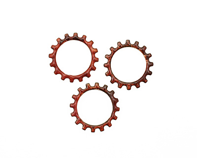 C-Koop Enameled Metal Ruby Red Open Gear 19mm