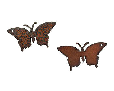 The Lipstick Ranch Etched Rusted Iron Butterfly Pendant 37x70mm