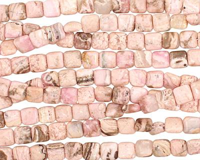 Rhodochrosite (soft pink) Puff Square 8mm