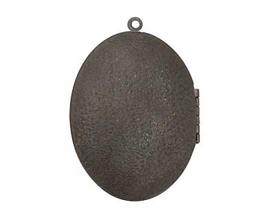 Gunmetal Oval Scalloped Shell w/Cab Setting Heirloom Locket 48x64mm