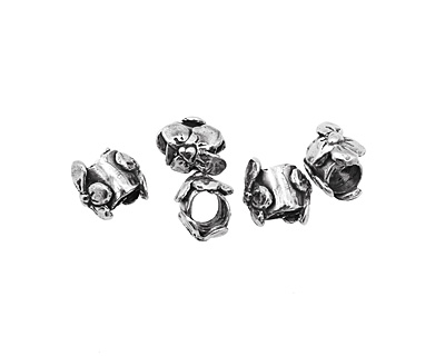 Rustic Charms Sterling Silver Thick Flower Slide 12x10mm