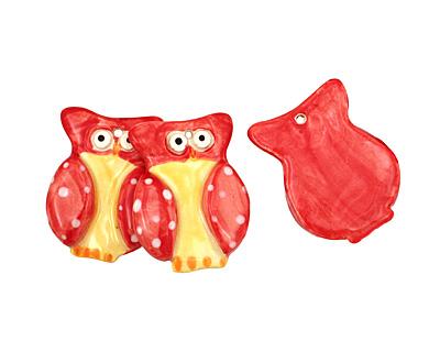 Jangles Ceramic Red Owl Pendant 35x45mm