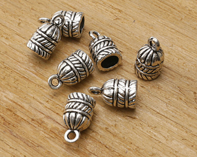 Zola Elements Antique Silver (plated) Ribbed 5.5mm Glue In Cord End 9x15mm