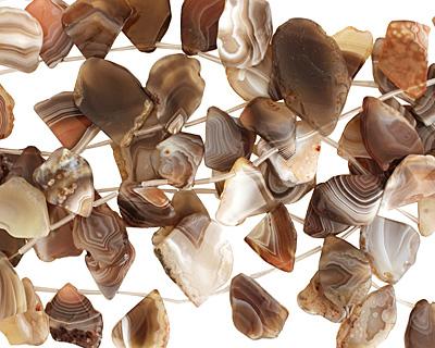 Botswana Agate Flat Freeform Drop 20-41x22-52mm