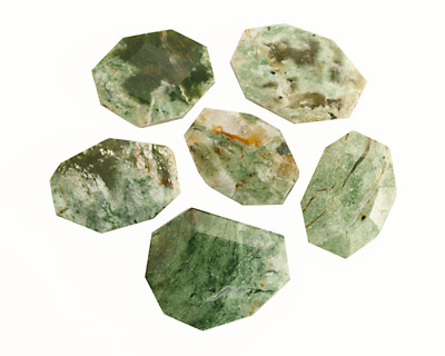 Green African Opal Faceted Flat Slab 24-34x16-28mm