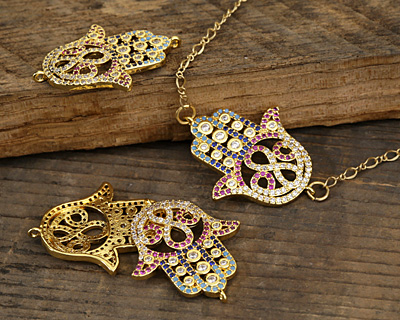 Jewel Tone Mix Pave CZ Gold (plated) Hamsa Focal Link 30x24mm