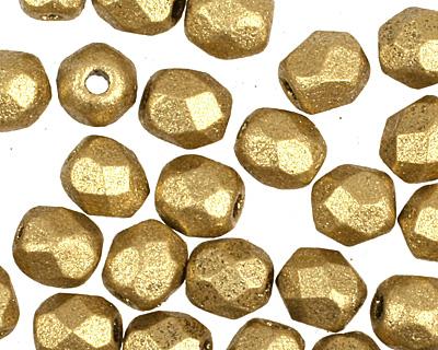 Czech Fire Polished Glass Matte Metallic Aztec Gold Round 3mm