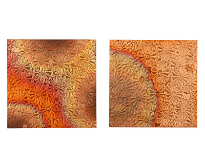 Lillypilly Flamed Raised Flower Embossed Patina Copper Sheet 3