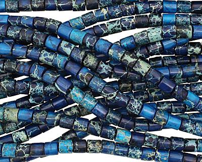 Midnight Blue Impression Jasper Barrel 8mm
