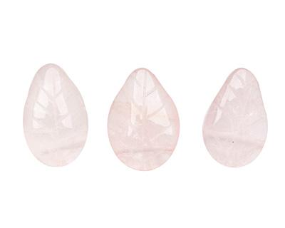 Rose Quartz Carved Leaf Drop 10-11x14-16mm