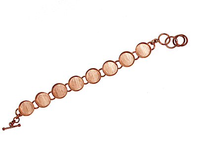Copper Circle Bezel Link Bracelet 17mm