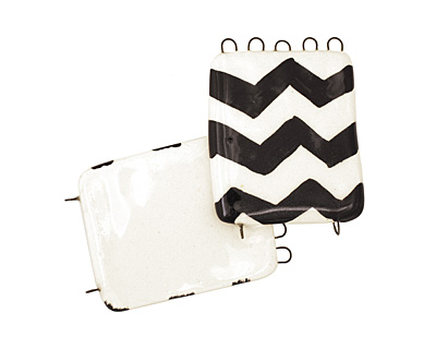 Jangles Ceramic Zebra Chevron Pendant 2-5 Link 56x43mm