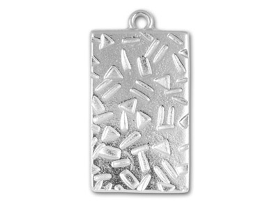 TierraCast Rhodium (plated) Textured Rectangle 19x35mm
