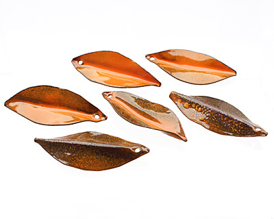 C-Koop Enameled Metal Pumpkin Orange Pointed Leaf 15-20x40-45mm