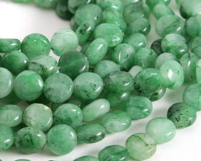 Green Agate Puff Coin 10mm