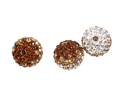 Topaz/Crystal Ombre Pave Round 12mm (1.5mm hole)