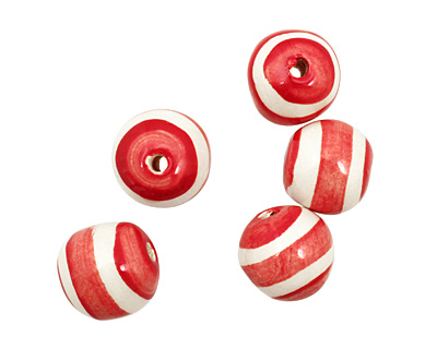 Jangles Ceramic Red/White Striped Round 15-17mm