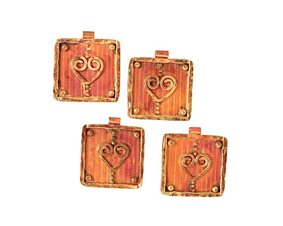 Patricia Healey Copper Heart Frame Pendant 31x36mm