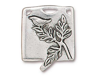 TierraCast Antique Silver (plated) Botanical Bird Pendant 23x29mm