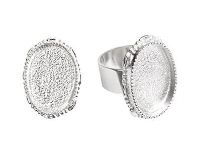 Nunn Design Sterling Silver (plated) Large Ornate Oval Bezel Adjustable Ring 24x30mm