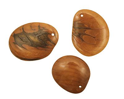 Tagua Nut Honey Groovy Slice 25-35x30-42mm