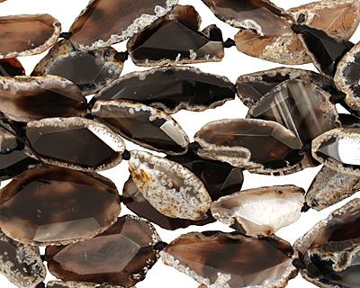 Black Agate Natural Edge Freeform Faceted Slab 38-55x20-30mm
