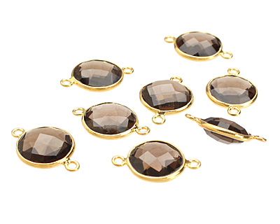 Smoky Quartz Faceted Coin Link in Gold Vermeil 19x13mm