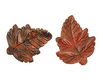Gray Rainbow Jasper Carved Leaf Pendant 48x60mm