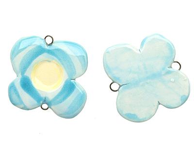Jangles Ceramic Turquoise Flower Link 30-33mm