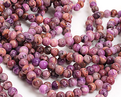 Purple Crazy Lace (light) Agate Round 8mm