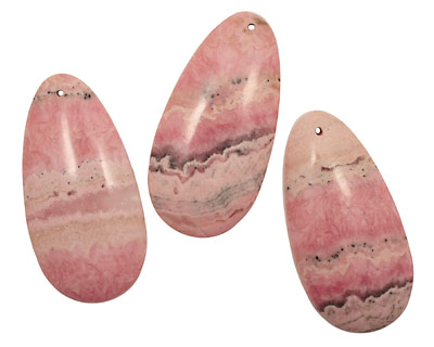 Rhodochrosite (soft pink) Long Drop Pendant 30x60mm