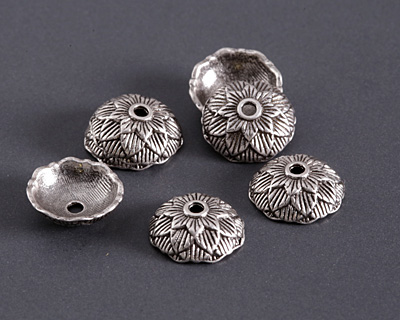 Antique Silver (plated) Lotus Bead Cap 4x12mm