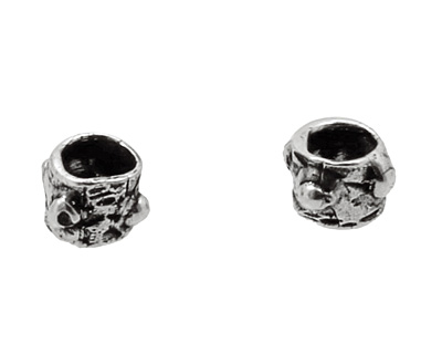 Rustic Charms Sterling Silver Small Tube w/ Dots 5x6mm