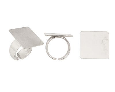 Silver (plated) Adjustable Square Ring 22mm