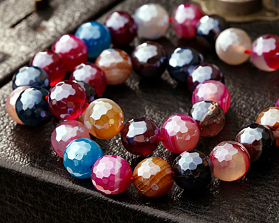 Jewel Tone Mix Line Agate w/ Silver Luster Faceted Round 10mm