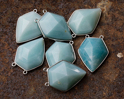 Amazonite Faceted Diamond Cut w/ Silver Finish Bezel Focal 21x30mm