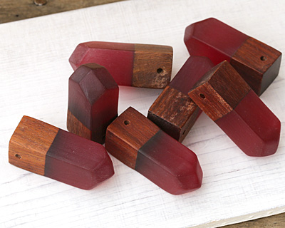 Wood & Ruby Resin Chunky Point Drop Pendant 14x50mm