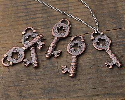 Greek Bronze (plated) Key Pendant 12x32mm
