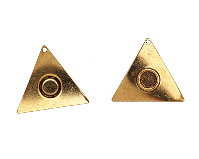 Stampt Antique Gold (plated) Triangle with Ring 21mm