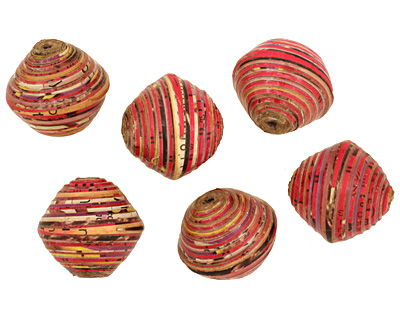 African Paper (red, pink, yellow) Bicone 24-25x26-27mm