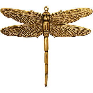 Stampt Antique Gold (plated) Emperor Dragonfly Pendant 50x43mm