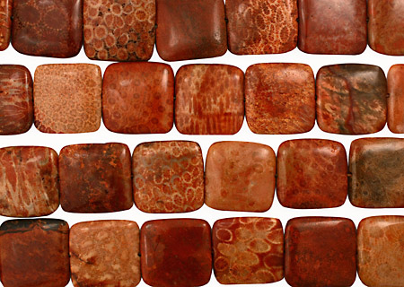 Fossil Jasper (red) Puff Square 30mm