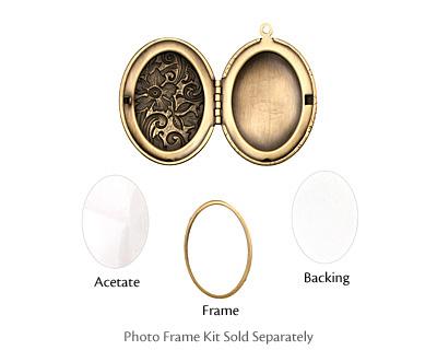 Antique Brass (plated) Oval Garden Heirloom Locket 33x47mm