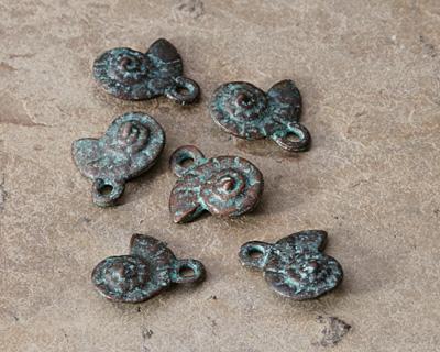 Greek Copper (plated) Patina Nautilus Spiral Charm 14x16mm