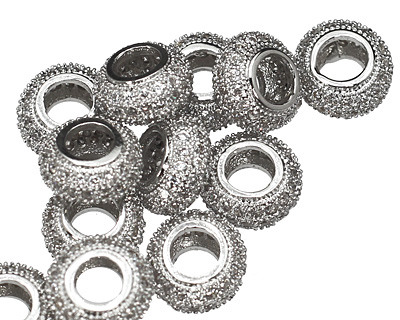 Silver (plated) CZ Micro Pave Rondelle 8mm