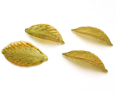 Vintage Meadow Acrylic Olive Birch Leaf 19x36mm