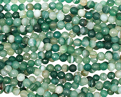 Green Line Agate Faceted Round 8mm